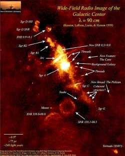 širokouhlý rádiový snímok jadra Galaxie na vlnovej dĺžke 90 cm. Kliknutím získate obrázok vo väčšom rozlíšení. © NRAO, (Kassim, LaRosa, Lazio & Hyman 1999)