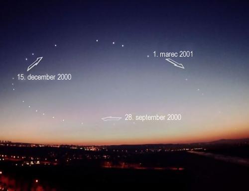 časozberná snímka Venuše ukazuje, ako sa planéta pohybuje na oblohe